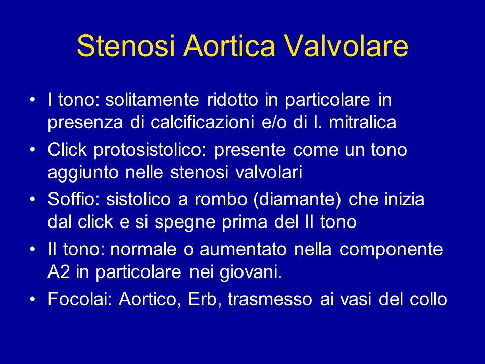 Stenosi Aortica Valvolare I tono: solitamente ridotto in particolare in presenza di calcificazioni e/o di I. mitralica Click protosistolico: presente