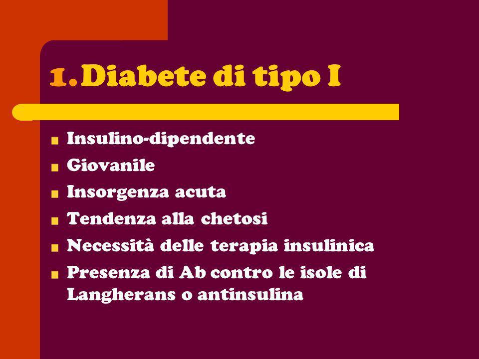 1.Diabete di tipo I Insulino-dipendente Giovanile Insorgenza acuta Tendenza alla chetosi Necessità delle terapia insulinica Presenza di Ab contro le i