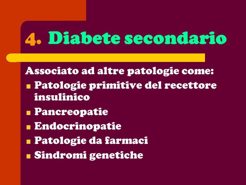 4. Diabete secondario Associato ad altre patologie come: Patologie primitive del recettore insulinico Pancreopatie Endocrinopatie Patologie da farmaci