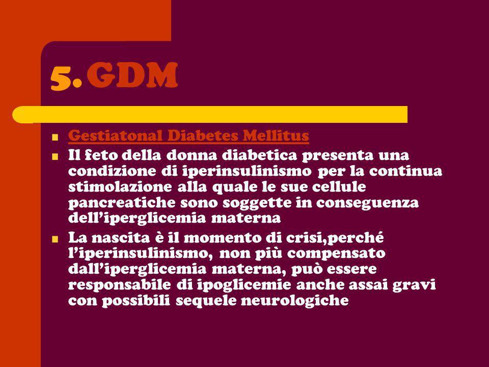 5.GDM Gestiatonal Diabetes Mellitus Il feto della donna diabetica presenta una condizione di iperinsulinismo per la continua stimolazione alla quale l