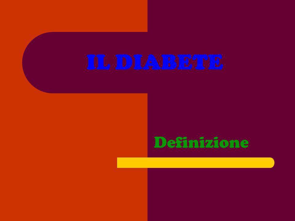 IL DIABETE Può essere definito come un disordine metabolico caratterizzato da deficit effettivo dinsulina a livello tissutale, denominato diabete mellito Dal greco, diabete=passa attraverso,collegato alleccessiva produzione durina Mellito=miele,riferito specificatamente alla glicosuria