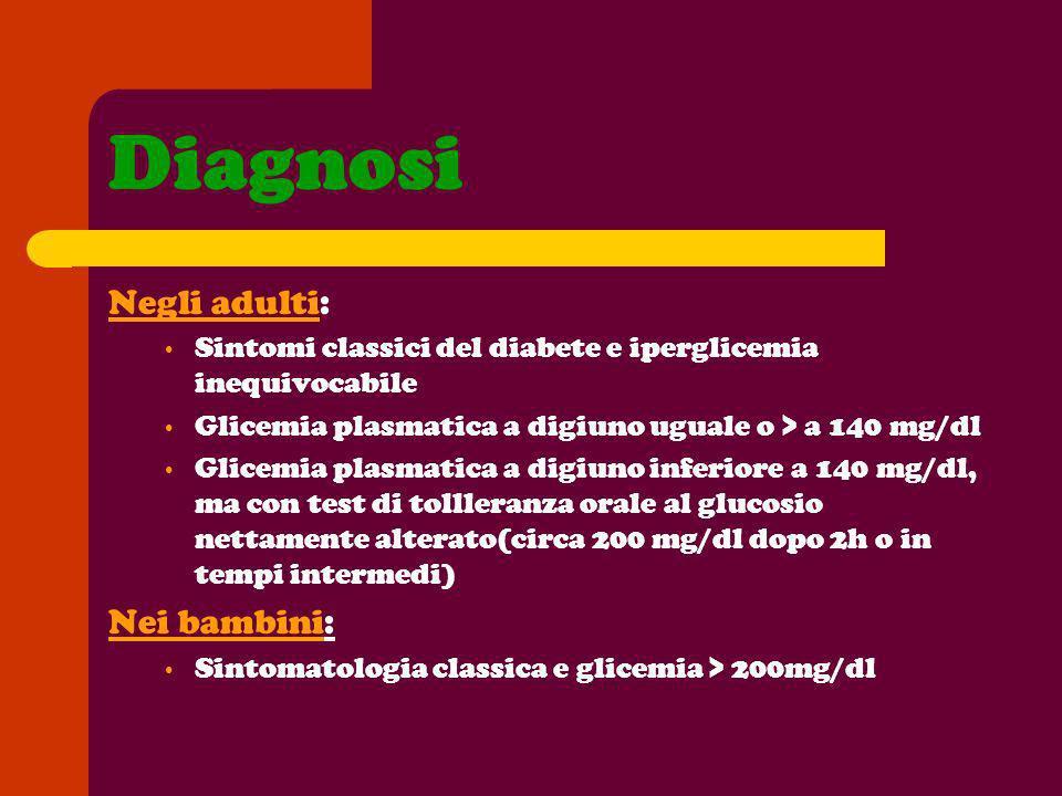 Diagnosi Negli adulti: Sintomi classici del diabete e iperglicemia inequivocabile Glicemia plasmatica a digiuno uguale o > a 140 mg/dl Glicemia plasma