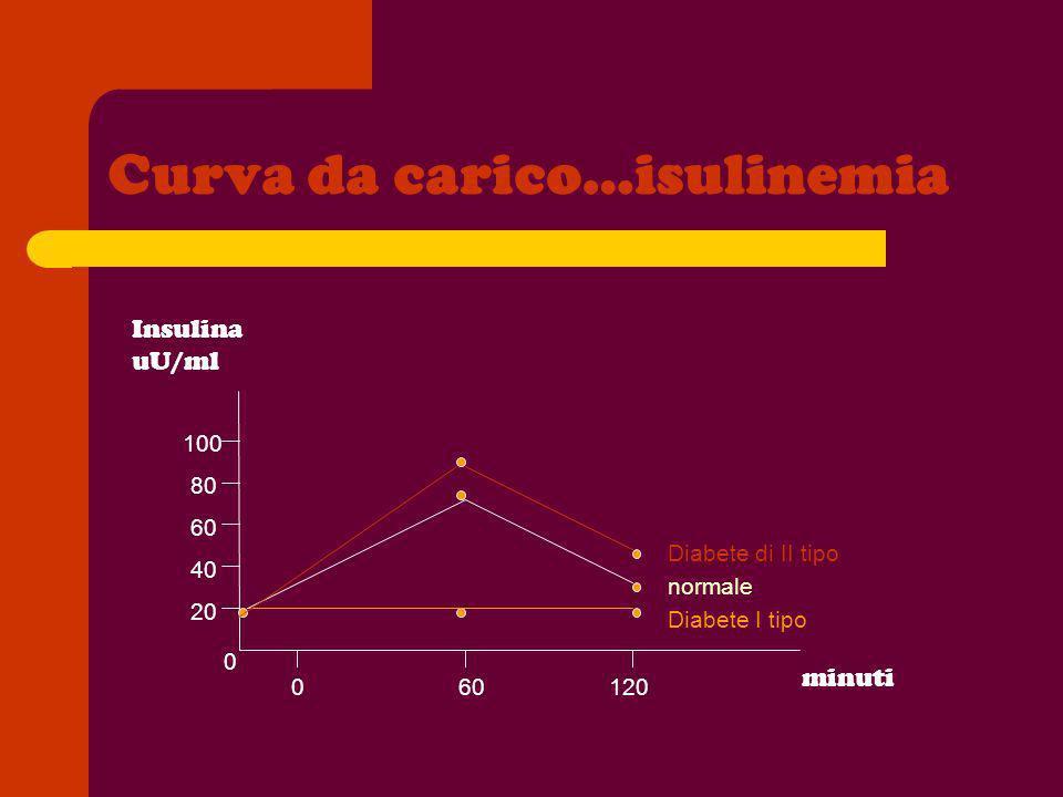 Curva da carico…isulinemia minuti 0 20 40 60 80 100 060120 Diabete di II tipo normale Diabete I tipo Insulina uU/ml