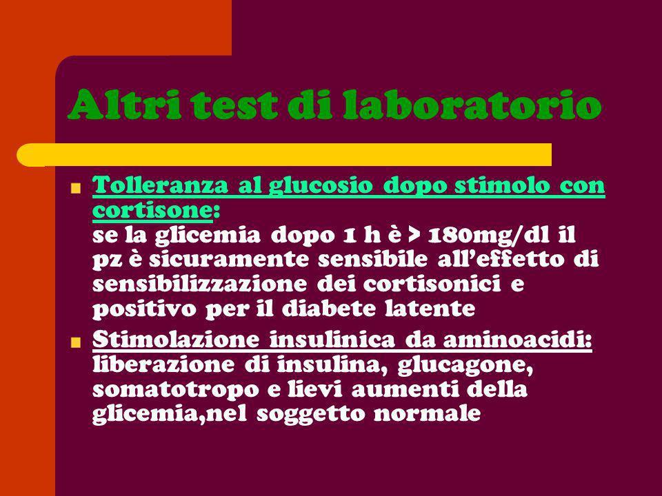 Altri test di laboratorio Tolleranza al glucosio dopo stimolo con cortisone: se la glicemia dopo 1 h è > 180mg/dl il pz è sicuramente sensibile alleff