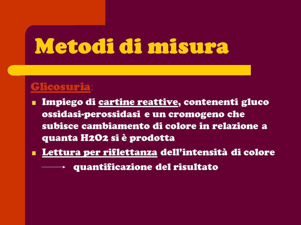 Metodi di misura Glicosuria : Impiego di cartine reattive, contenenti gluco ossidasi-perossidasi e un cromogeno che subisce cambiamento di colore in r