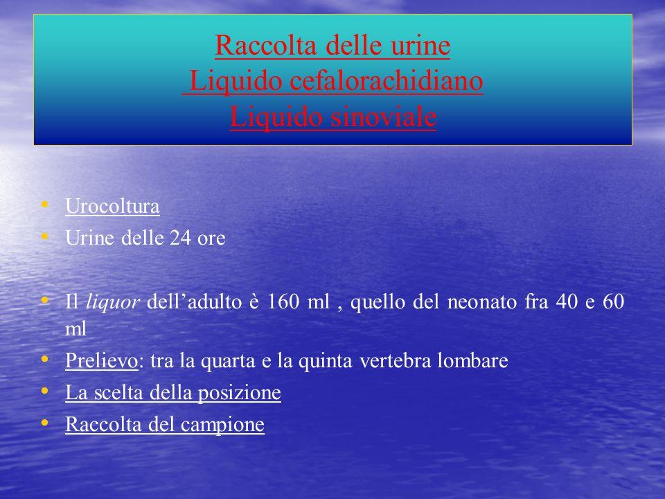 Raccolta delle urine Liquido cefalorachidiano Liquido sinoviale Urocoltura Urine delle 24 ore Il liquor delladulto è 160 ml, quello del neonato fra 40