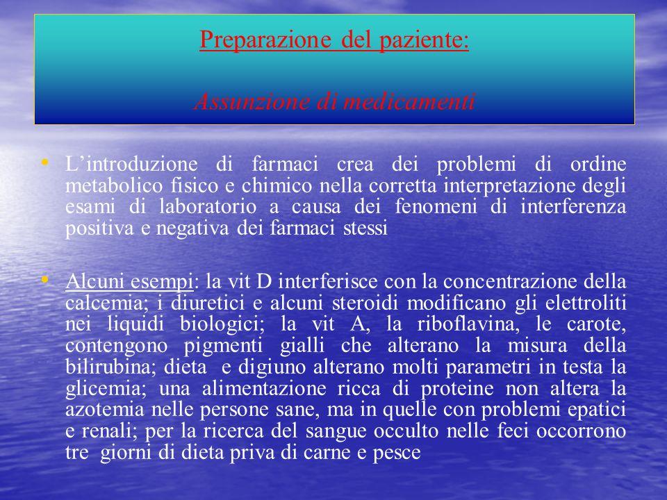 Preparazione del paziente: Assunzione di medicamenti Lintroduzione di farmaci crea dei problemi di ordine metabolico fisico e chimico nella corretta i