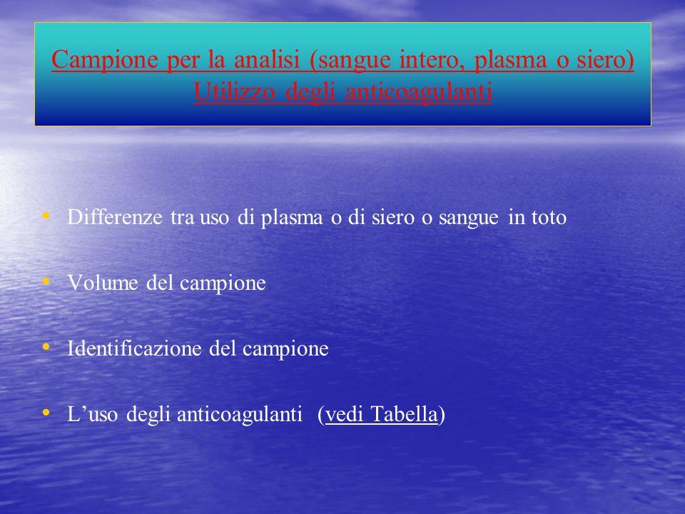 Campione per la analisi (sangue intero, plasma o siero) Utilizzo degli anticoagulanti Differenze tra uso di plasma o di siero o sangue in toto Volume