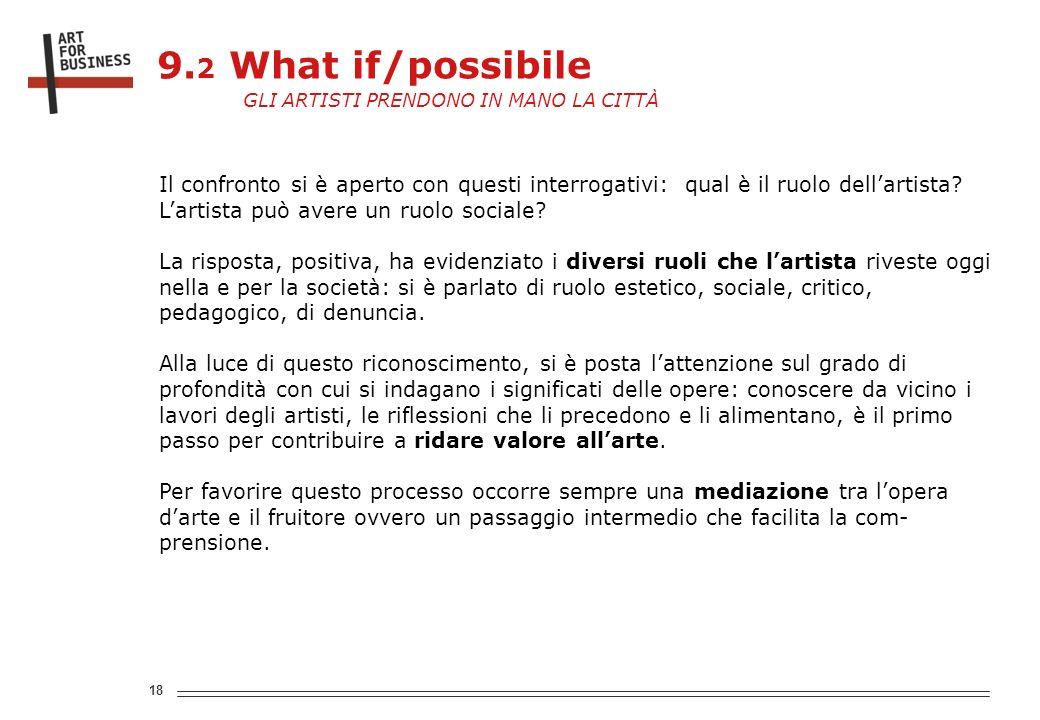 18 Il confronto si è aperto con questi interrogativi: qual è il ruolo dellartista.