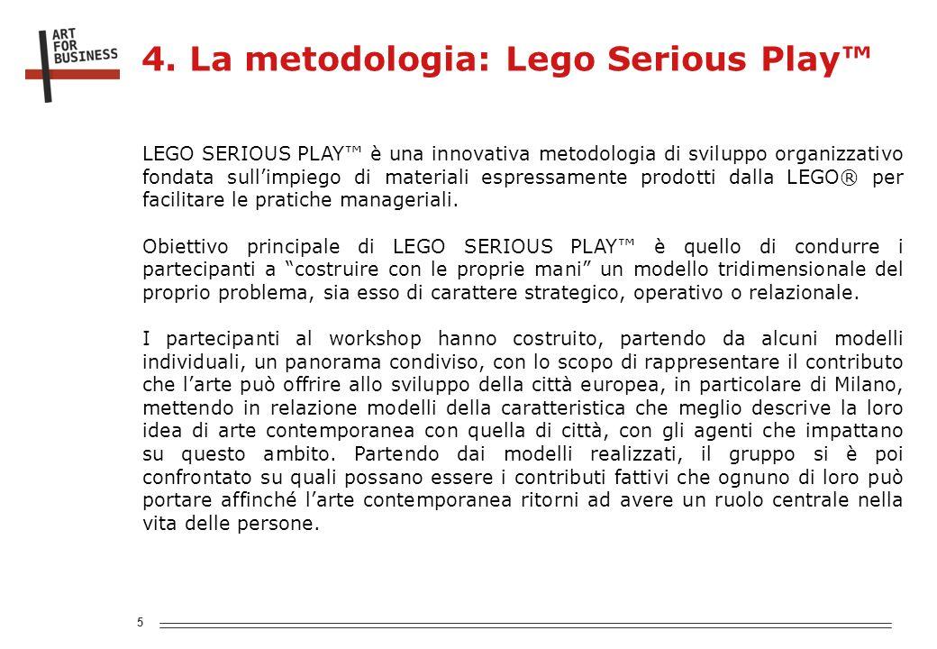 5 LEGO SERIOUS PLAY è una innovativa metodologia di sviluppo organizzativo fondata sullimpiego di materiali espressamente prodotti dalla LEGO® per facilitare le pratiche manageriali.