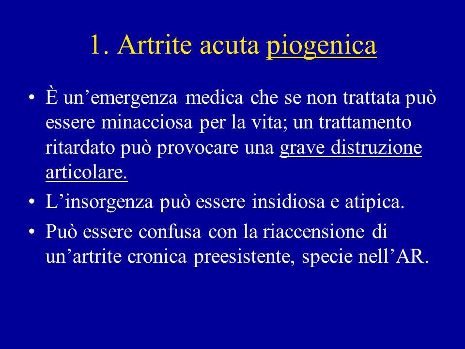 1. Artrite acuta piogenica È unemergenza medica che se non trattata può essere minacciosa per la vita; un trattamento ritardato può provocare una grav