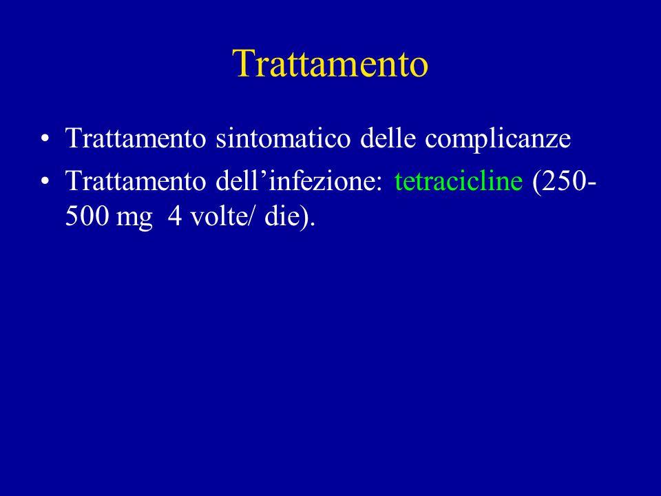 Trattamento Trattamento sintomatico delle complicanze Trattamento dellinfezione: tetracicline (250- 500 mg 4 volte/ die).
