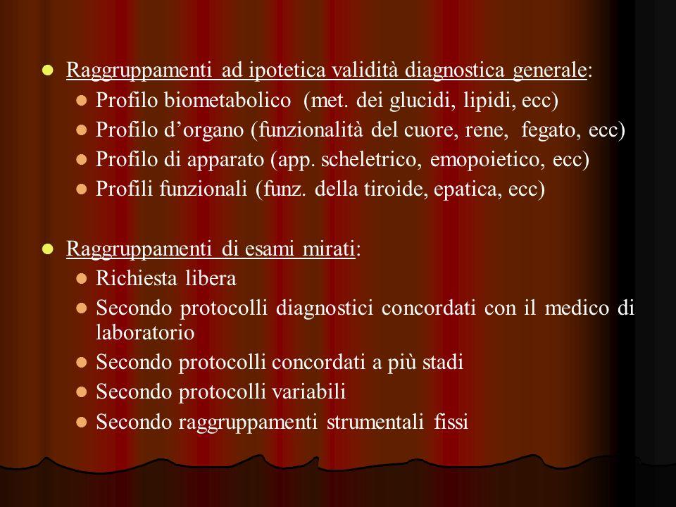 Raggruppamenti ad ipotetica validità diagnostica generale: Profilo biometabolico (met. dei glucidi, lipidi, ecc) Profilo dorgano (funzionalità del cuo