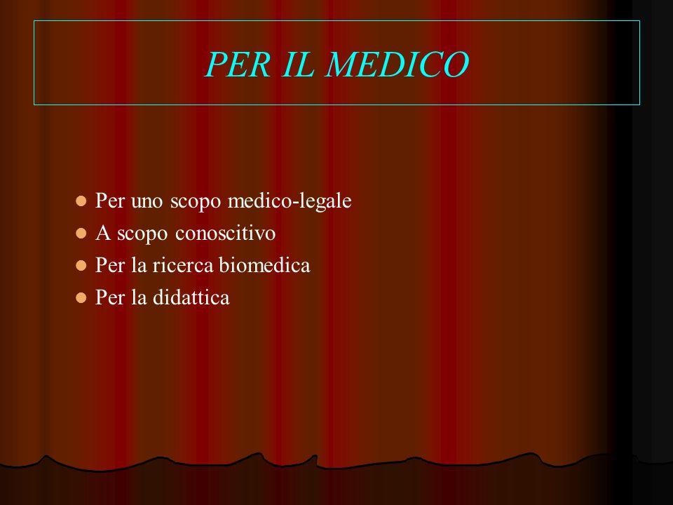PER IL MEDICO Per uno scopo medico-legale A scopo conoscitivo Per la ricerca biomedica Per la didattica