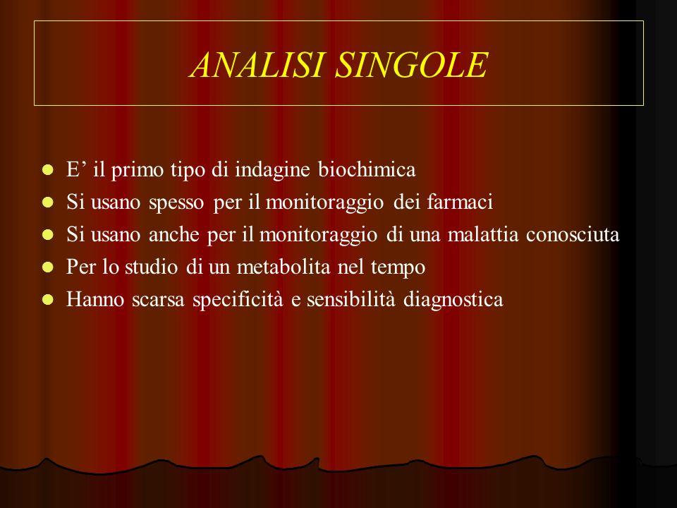 ANALISI SINGOLE E il primo tipo di indagine biochimica Si usano spesso per il monitoraggio dei farmaci Si usano anche per il monitoraggio di una malat