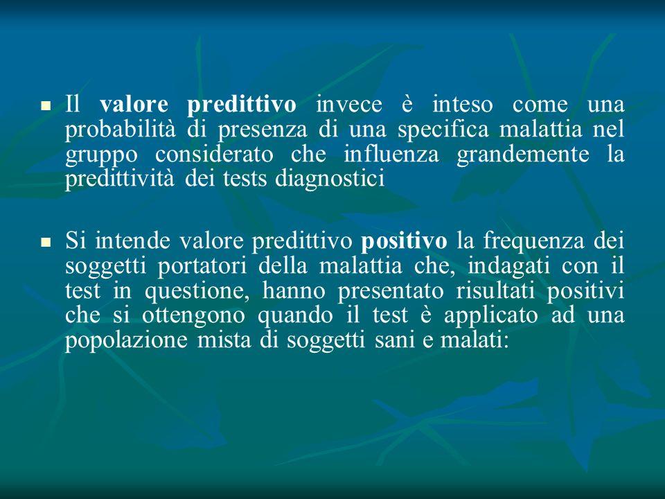 Il valore predittivo invece è inteso come una probabilità di presenza di una specifica malattia nel gruppo considerato che influenza grandemente la pr