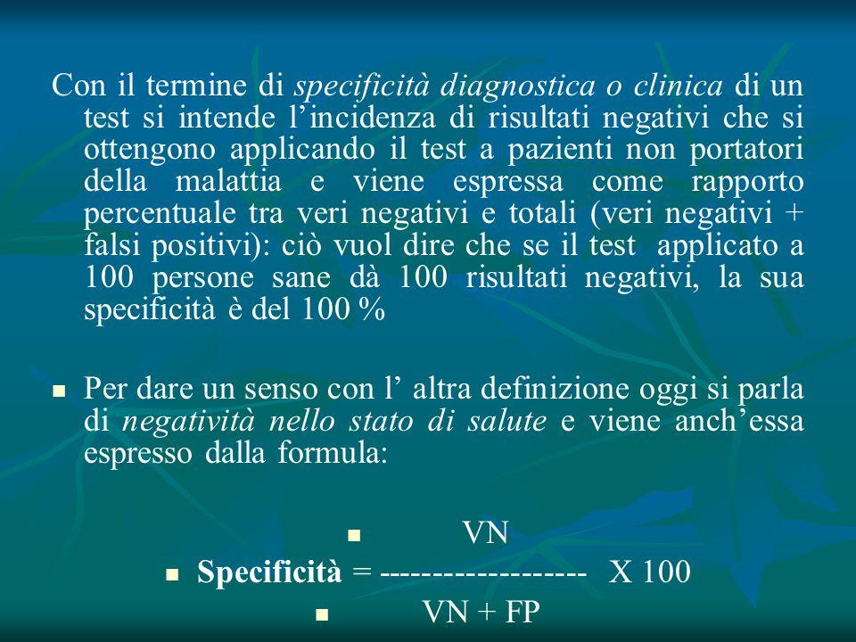 Con il termine di specificità diagnostica o clinica di un test si intende lincidenza di risultati negativi che si ottengono applicando il test a pazie