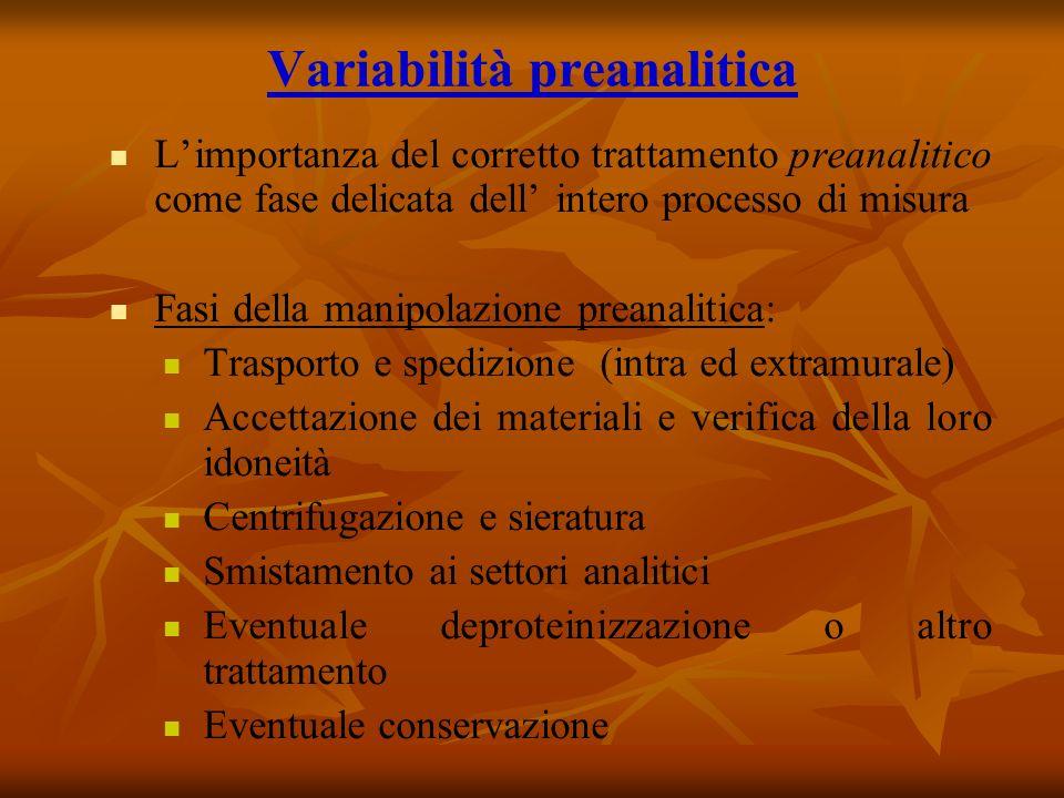 Variabilità preanalitica Limportanza del corretto trattamento preanalitico come fase delicata dell intero processo di misura Fasi della manipolazione