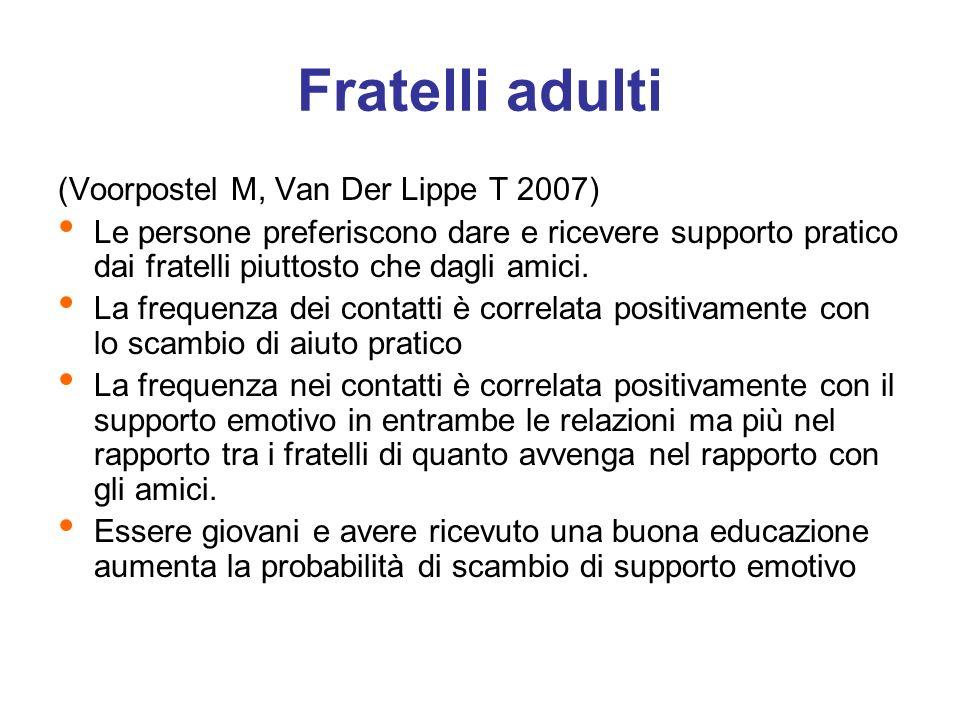 (Voorpostel M, Van Der Lippe T 2007) Le persone preferiscono dare e ricevere supporto pratico dai fratelli piuttosto che dagli amici. La frequenza dei