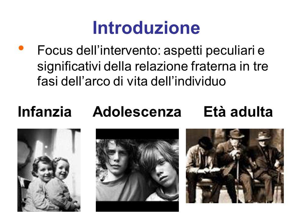 Introduzione Focus dellintervento: aspetti peculiari e significativi della relazione fraterna in tre fasi dellarco di vita dellindividuo InfanziaAdole