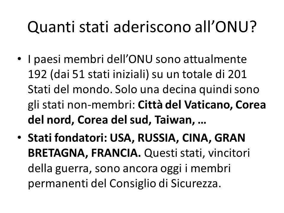 Quanti stati aderiscono allONU? I paesi membri dellONU sono attualmente 192 (dai 51 stati iniziali) su un totale di 201 Stati del mondo. Solo una deci