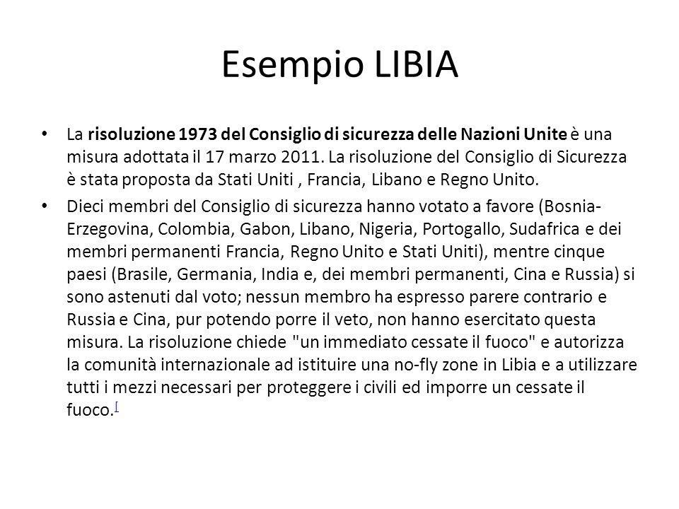 Esempio LIBIA La risoluzione 1973 del Consiglio di sicurezza delle Nazioni Unite è una misura adottata il 17 marzo 2011. La risoluzione del Consiglio