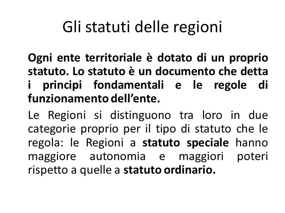 Gli statuti delle regioni Ogni ente territoriale è dotato di un proprio statuto.