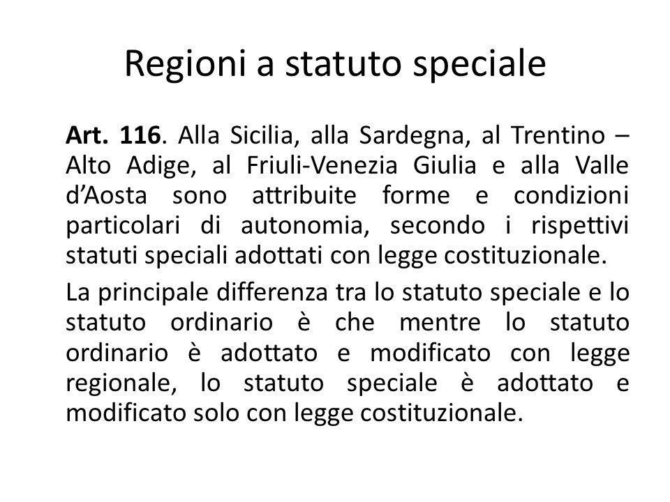 Regioni a statuto speciale Art.116.