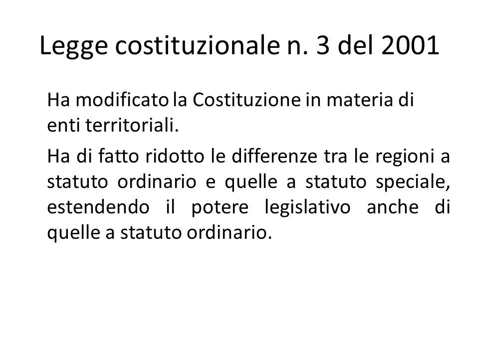 Legge costituzionale n.3 del 2001 Ha modificato la Costituzione in materia di enti territoriali.