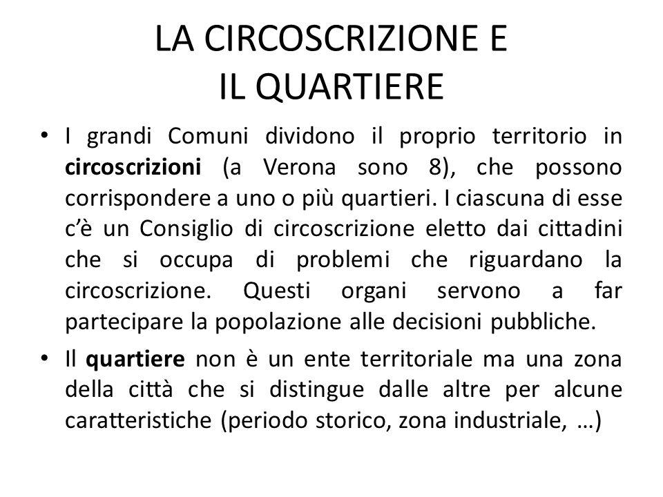 LA CIRCOSCRIZIONE E IL QUARTIERE I grandi Comuni dividono il proprio territorio in circoscrizioni (a Verona sono 8), che possono corrispondere a uno o più quartieri.