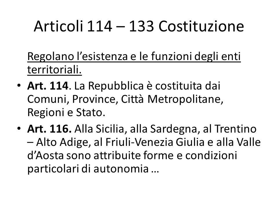 Articoli 114 – 133 Costituzione Regolano lesistenza e le funzioni degli enti territoriali.