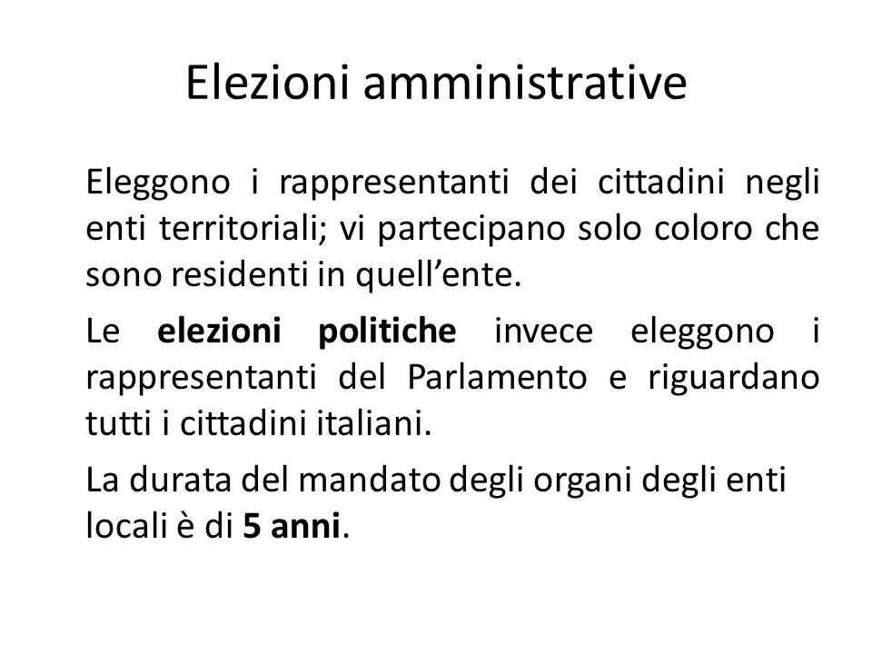 Elezioni amministrative Eleggono i rappresentanti dei cittadini negli enti territoriali; vi partecipano solo coloro che sono residenti in quellente.
