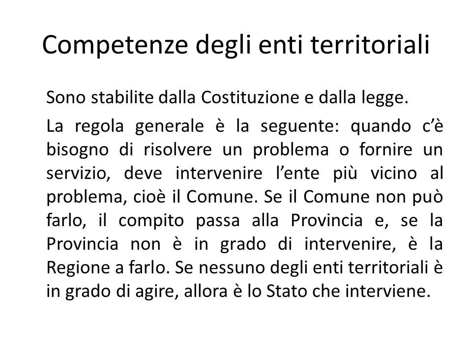 Competenze degli enti territoriali Sono stabilite dalla Costituzione e dalla legge.
