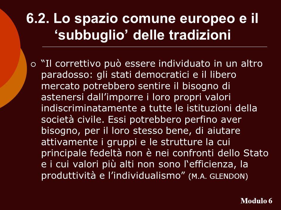 6.2. Lo spazio comune europeo e il subbuglio delle tradizioni Il correttivo può essere individuato in un altro paradosso: gli stati democratici e il l