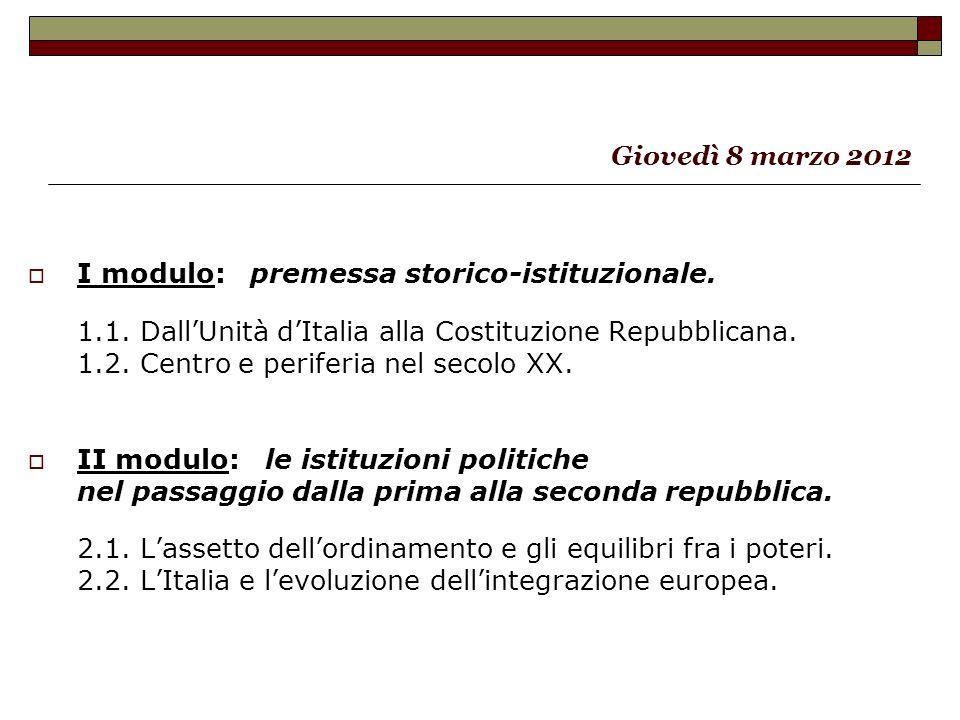 I modulo: premessa storico-istituzionale.1.1. DallUnità dItalia alla Costituzione Repubblicana.