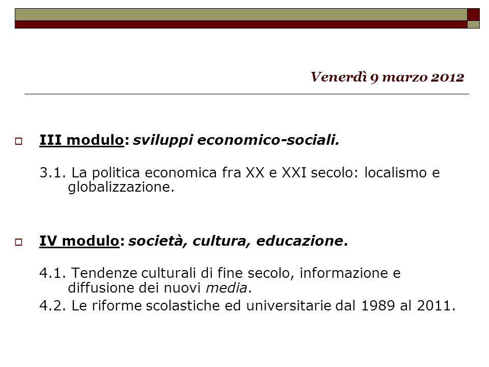 III modulo: sviluppi economico-sociali.3.1.
