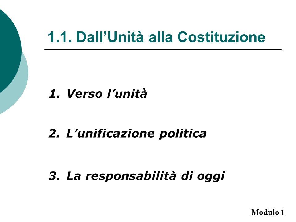 1.1. DallUnità alla Costituzione 1.Verso lunità 2.Lunificazione politica 3.La responsabilità di oggi Modulo 1