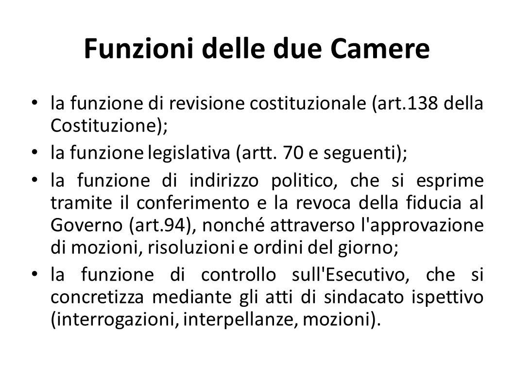 Funzioni delle due Camere la funzione di revisione costituzionale (art.138 della Costituzione); la funzione legislativa (artt. 70 e seguenti); la funz