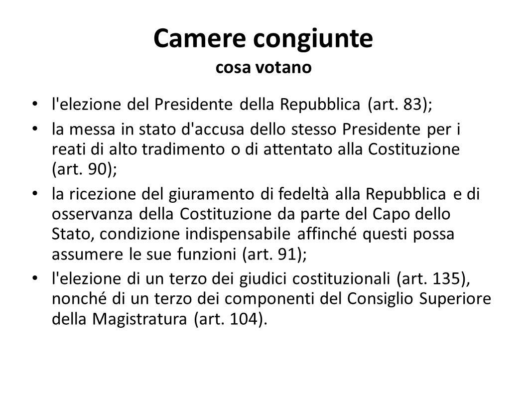 Camere congiunte cosa votano l'elezione del Presidente della Repubblica (art. 83); la messa in stato d'accusa dello stesso Presidente per i reati di a