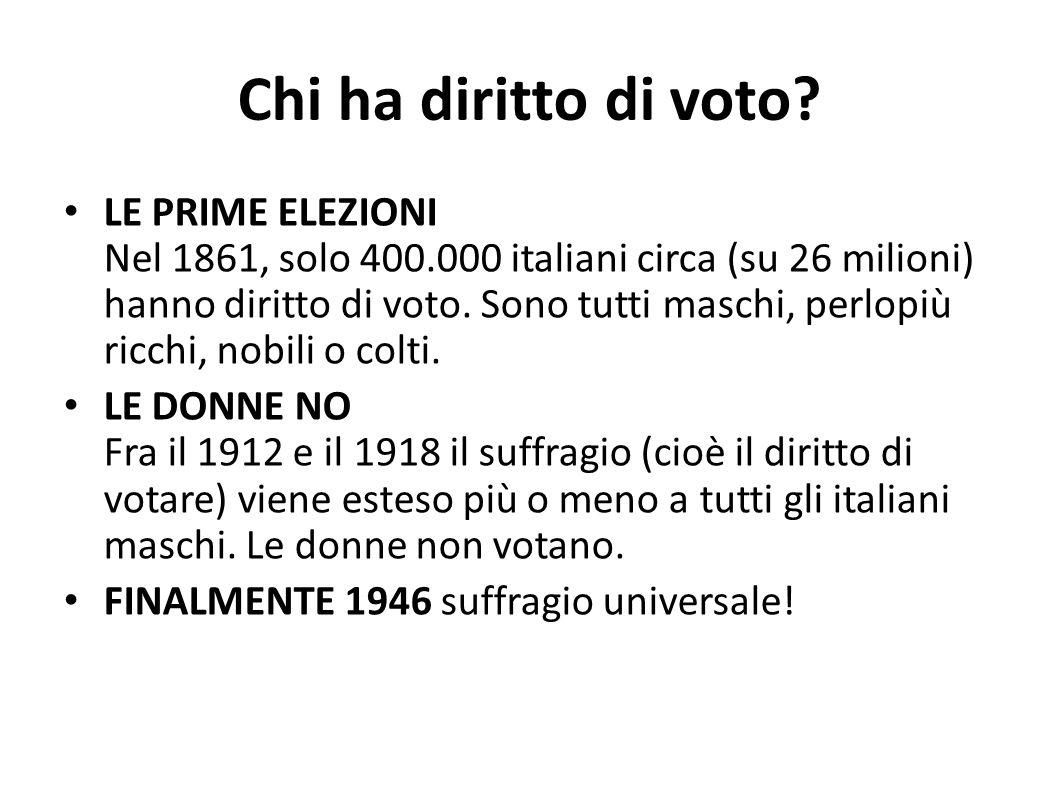 Chi ha diritto di voto? LE PRIME ELEZIONI Nel 1861, solo 400.000 italiani circa (su 26 milioni) hanno diritto di voto. Sono tutti maschi, perlopiù ric