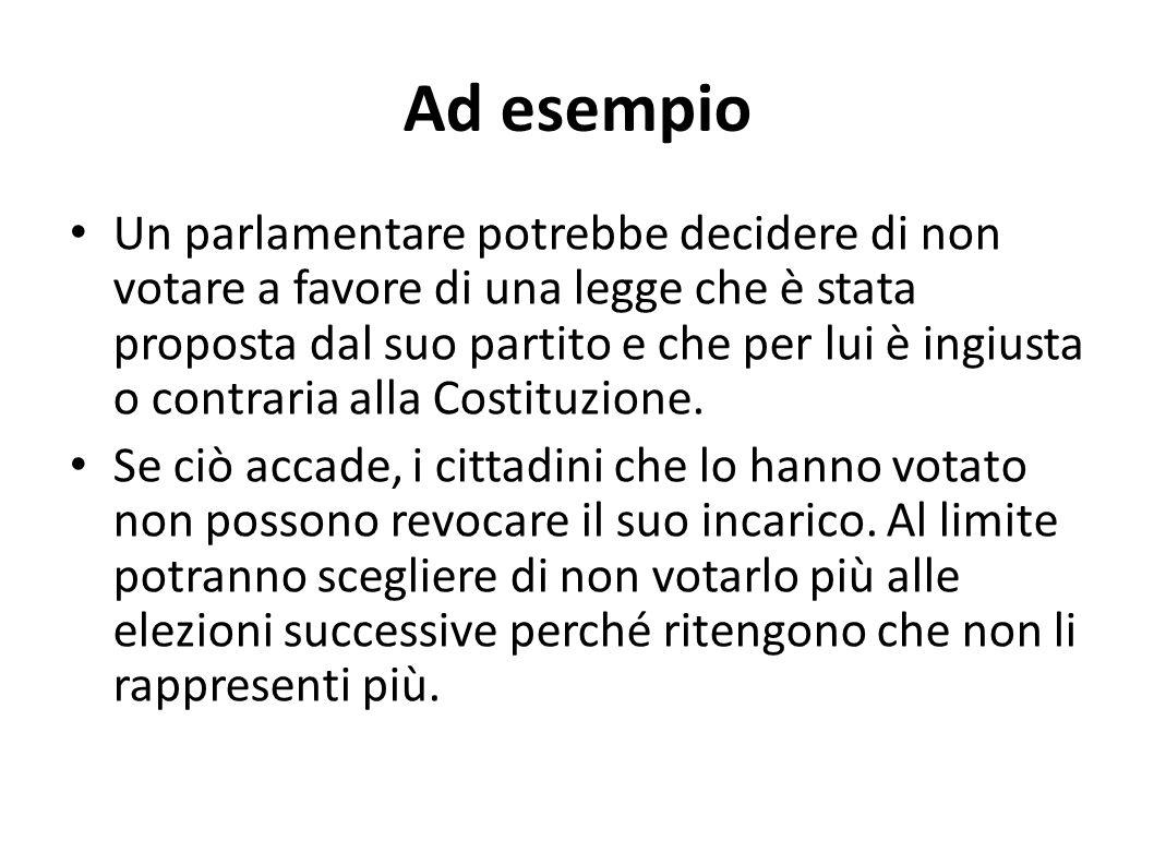 Ad esempio Un parlamentare potrebbe decidere di non votare a favore di una legge che è stata proposta dal suo partito e che per lui è ingiusta o contr
