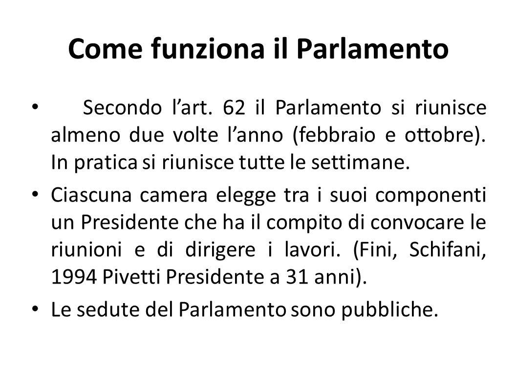 Come funziona il Parlamento Secondo lart. 62 il Parlamento si riunisce almeno due volte lanno (febbraio e ottobre). In pratica si riunisce tutte le se