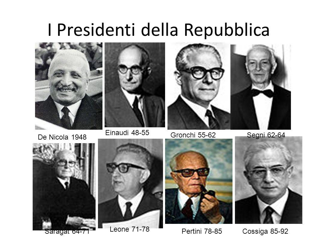I Presidenti della Repubblica De Nicola 1948 Einaudi 48-55 Gronchi 55-62Segni 62-64 Saragat 64-71 Leone 71-78 Pertini 78-85 Cossiga 85-92