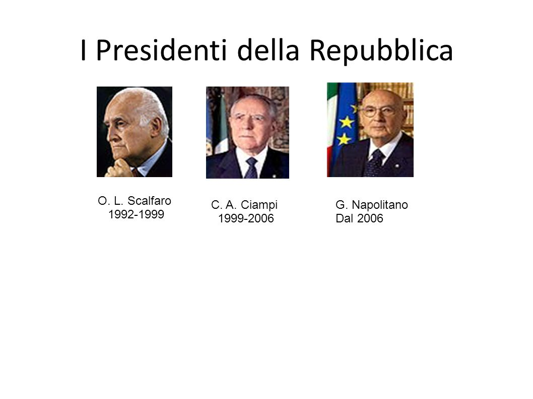I Presidenti della Repubblica O. L. Scalfaro 1992-1999 C. A. Ciampi 1999-2006 G. Napolitano Dal 2006