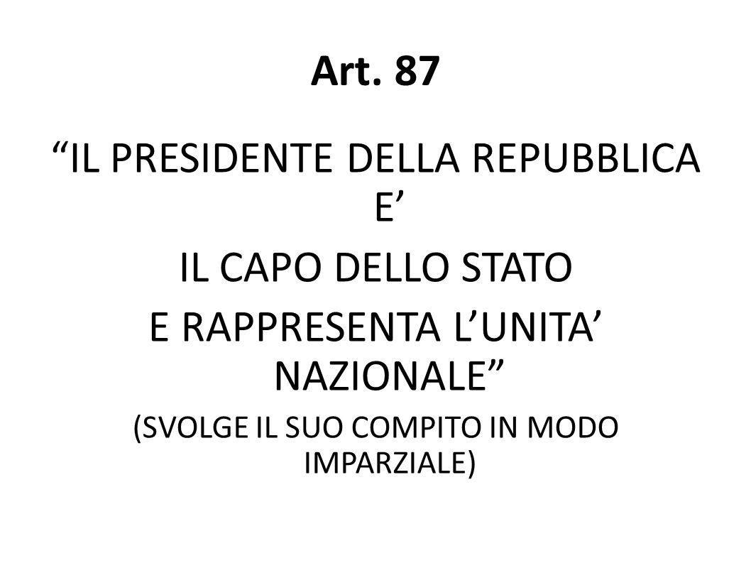 Art. 87 IL PRESIDENTE DELLA REPUBBLICA E IL CAPO DELLO STATO E RAPPRESENTA LUNITA NAZIONALE (SVOLGE IL SUO COMPITO IN MODO IMPARZIALE)