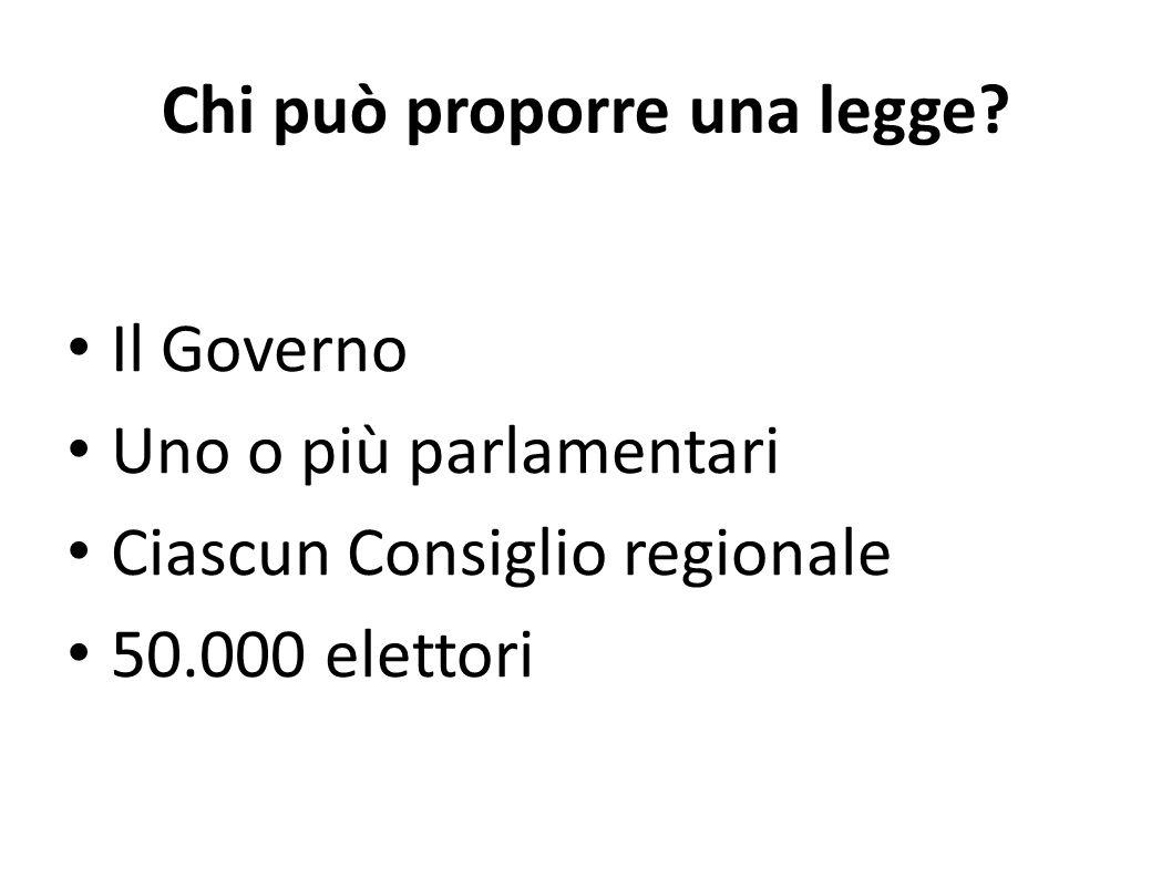 Chi può proporre una legge? Il Governo Uno o più parlamentari Ciascun Consiglio regionale 50.000 elettori