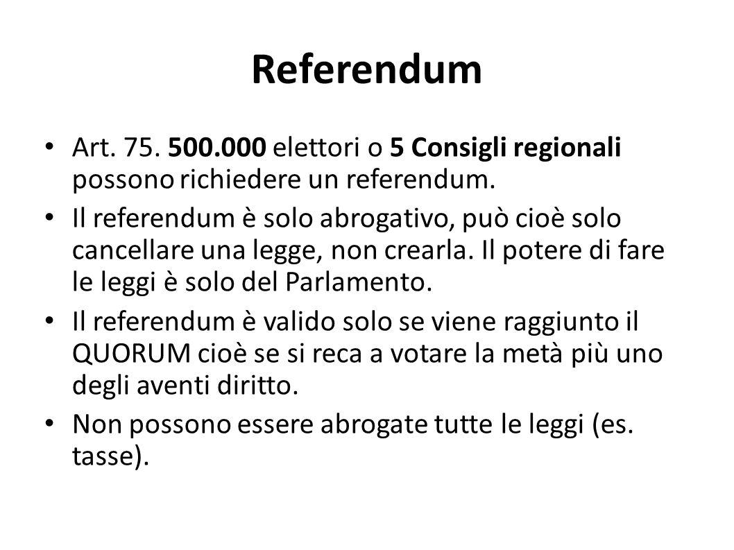 Referendum Art. 75. 500.000 elettori o 5 Consigli regionali possono richiedere un referendum. Il referendum è solo abrogativo, può cioè solo cancellar