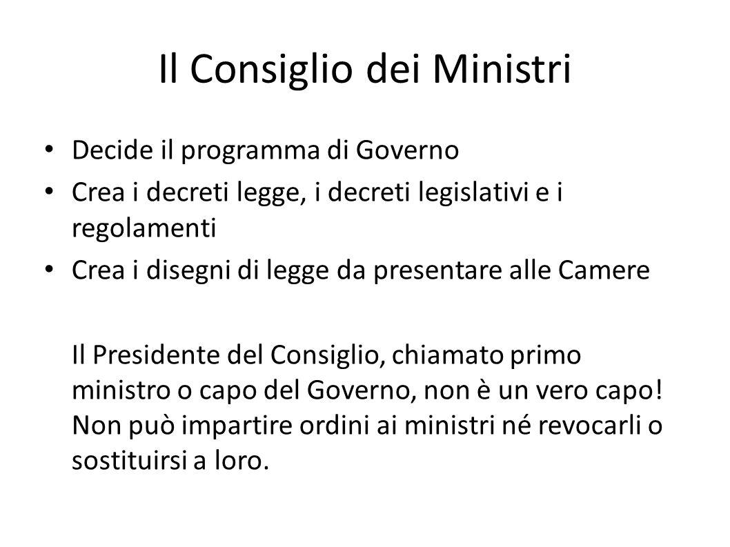 Il Consiglio dei Ministri Decide il programma di Governo Crea i decreti legge, i decreti legislativi e i regolamenti Crea i disegni di legge da presen