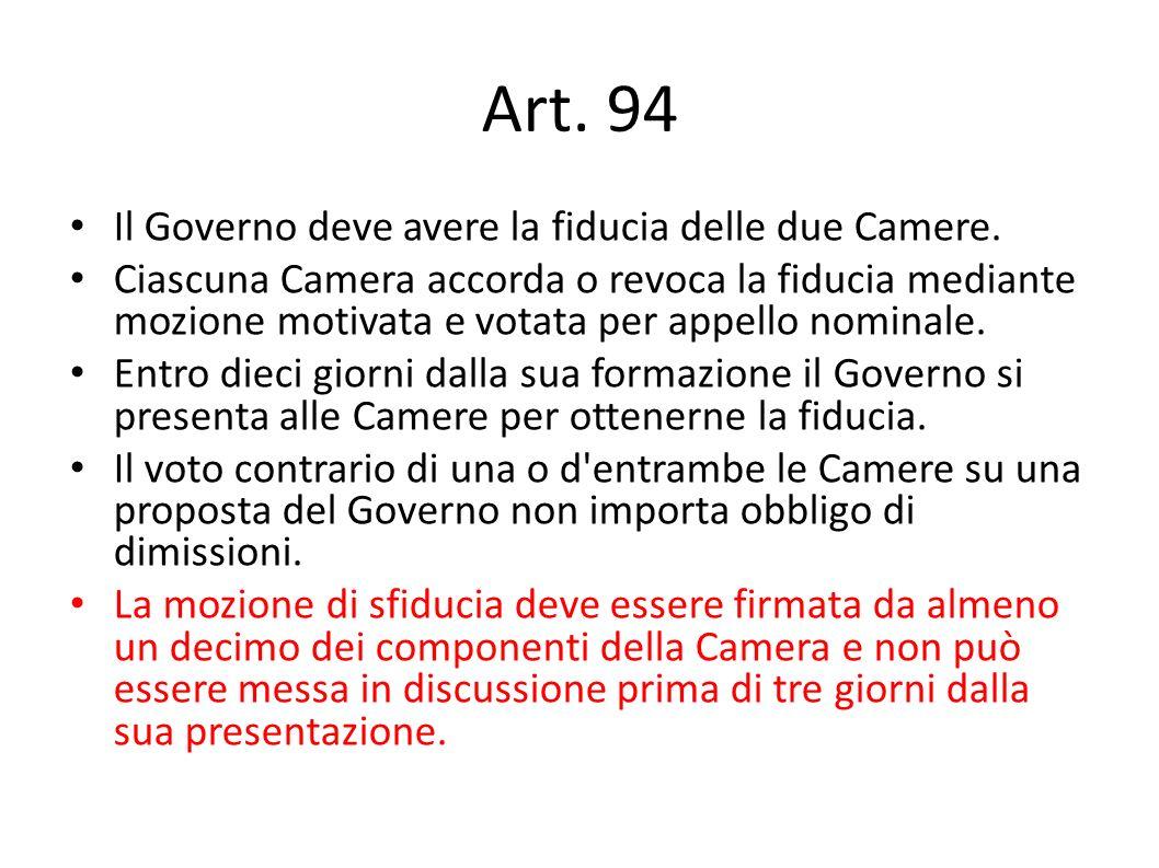 Art. 94 Il Governo deve avere la fiducia delle due Camere. Ciascuna Camera accorda o revoca la fiducia mediante mozione motivata e votata per appello