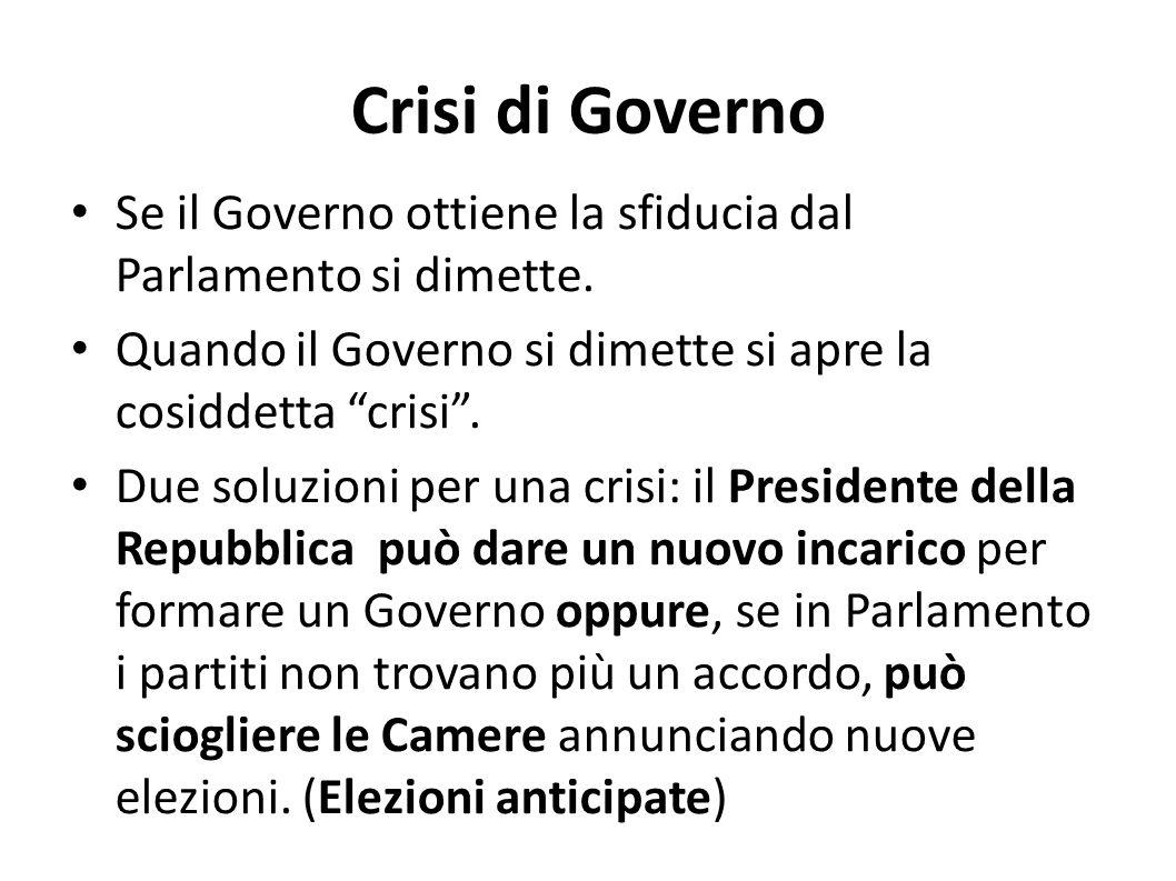Crisi di Governo Se il Governo ottiene la sfiducia dal Parlamento si dimette. Quando il Governo si dimette si apre la cosiddetta crisi. Due soluzioni